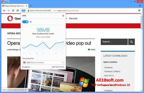 Skjermbilde Opera Windows 10