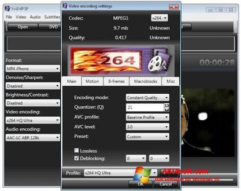 Skjermbilde XviD4PSP Windows 10