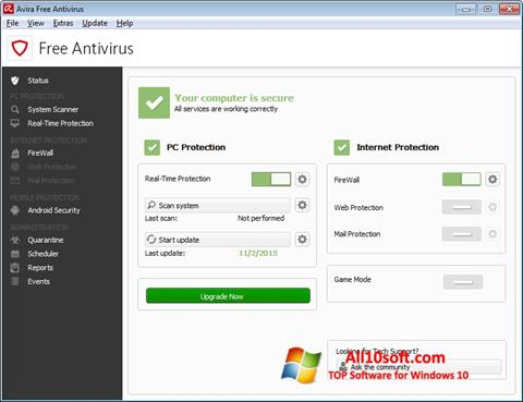 Skjermbilde Avira Free Antivirus Windows 10