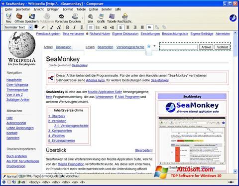 Skjermbilde SeaMonkey Windows 10