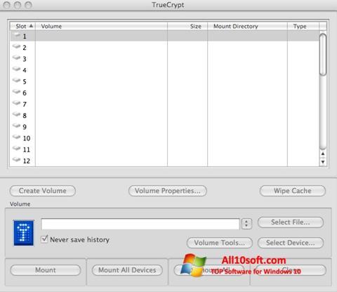 Skjermbilde TrueCrypt Windows 10