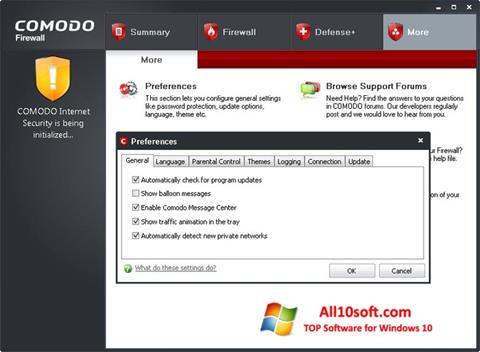 Skjermbilde Comodo Firewall Windows 10