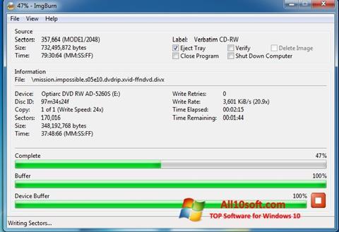 Skjermbilde ImgBurn Windows 10
