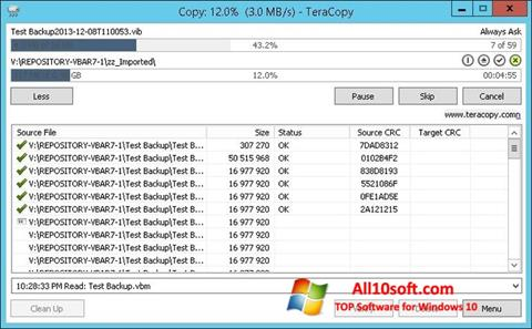 Skjermbilde TeraCopy Windows 10