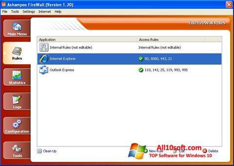 Skjermbilde Ashampoo Firewall Windows 10