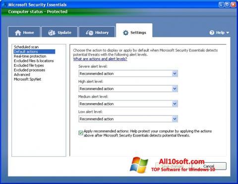 Skjermbilde Microsoft Security Essentials Windows 10
