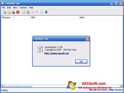 Skjermbilde HashMyFiles Windows 10